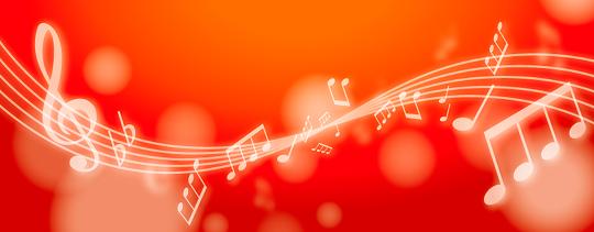 赤い背景に音符